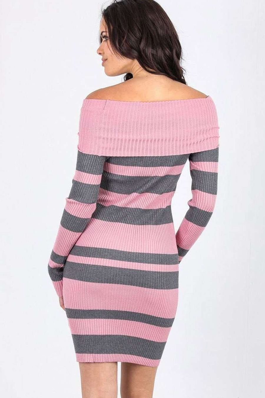 Mola Off Shoulder Striped Knitted Bodycon - bejealous-com