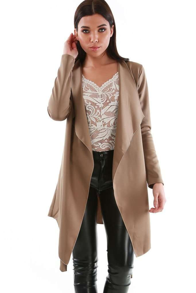 Molly Long Sleeve Waterfall Duster Coat - bejealous-com