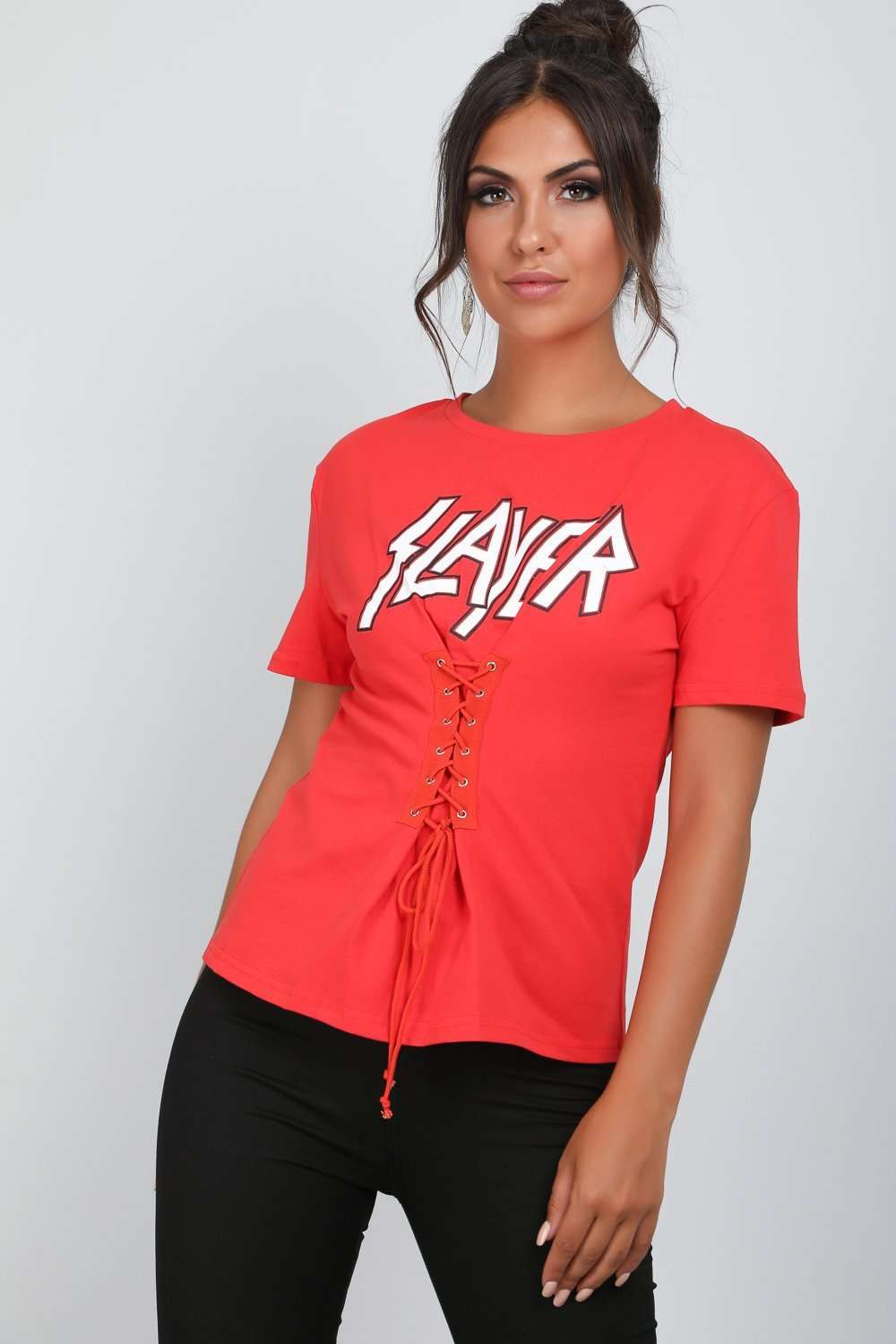 Mona Slayer Graphic Print Lace Up TShirt - bejealous-com