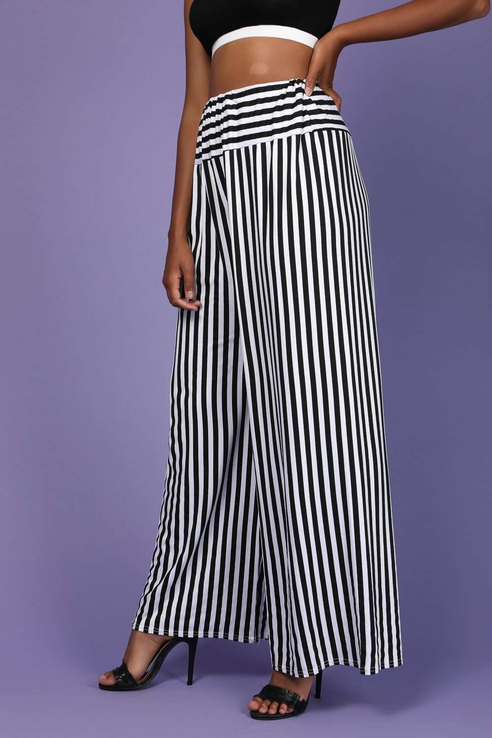 Monochome High Waisted Striped Palazzo Pants - bejealous-com
