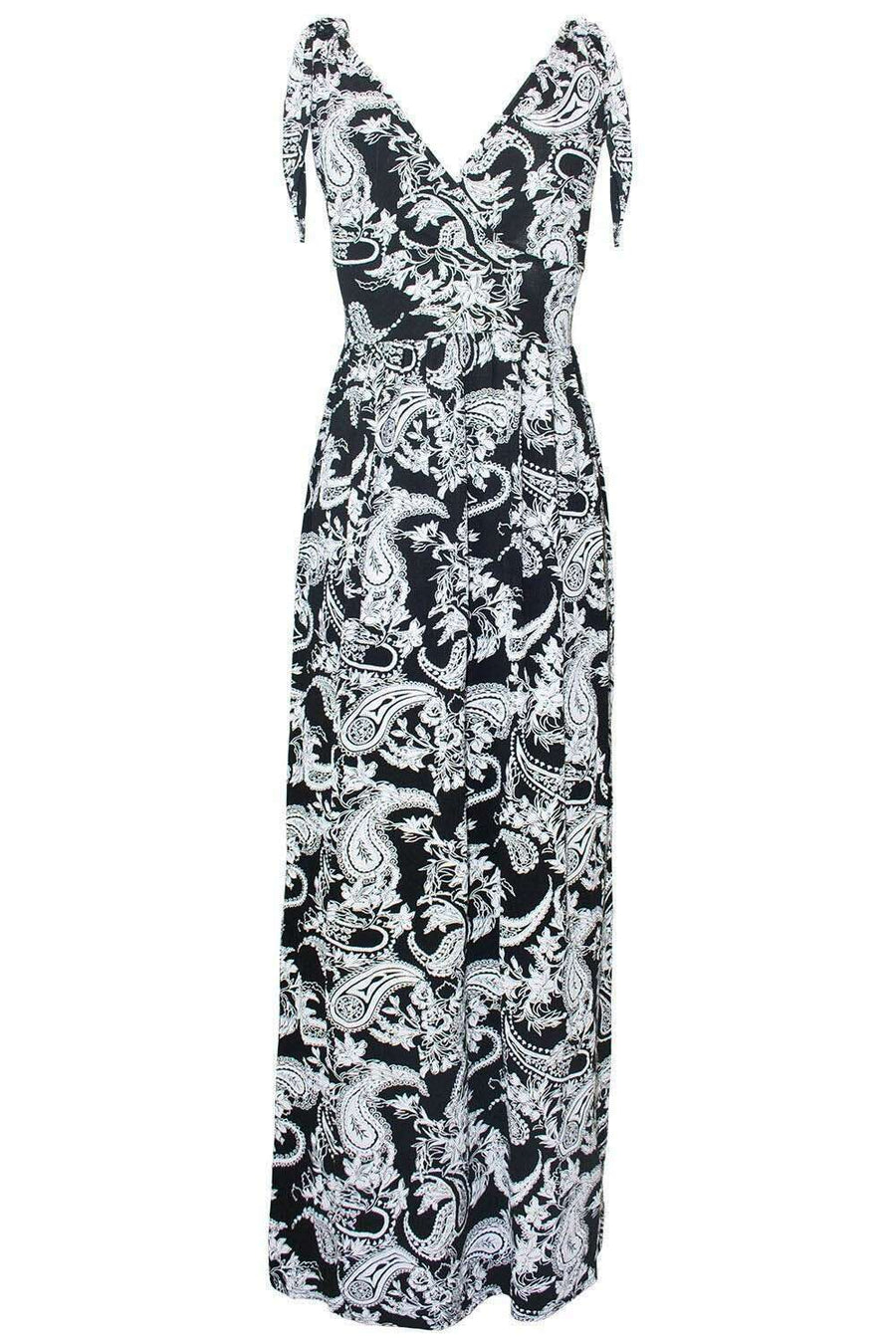 Monochrome Paisley Print Wrap Over Maxi Dress - bejealous-com