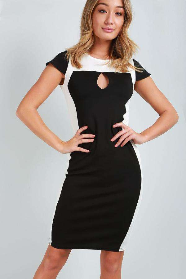 Monochrome Paneled Illusion Bodycon Midi Dress - bejealous-com
