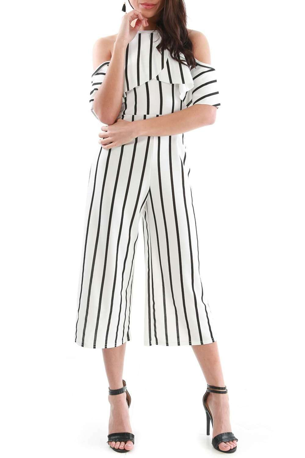 Monochrome Striped Frilly Cold Shoulder Culotte Jumpsuit - bejealous-com
