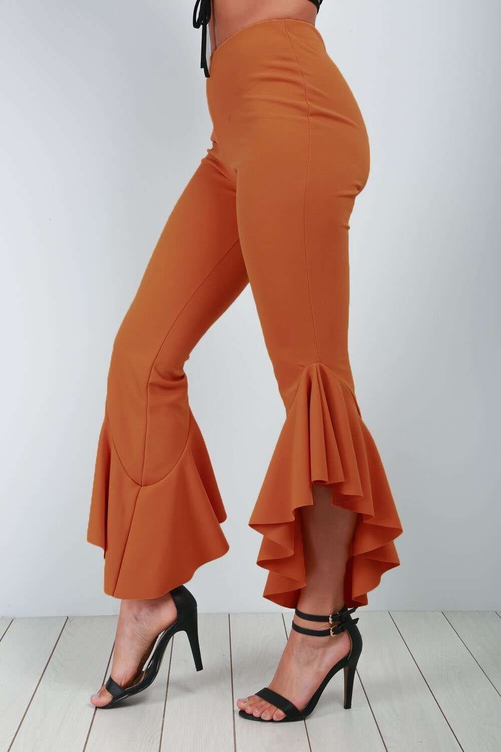 Mustard High Waist Frilly Slim Leg Trousers - bejealous-com