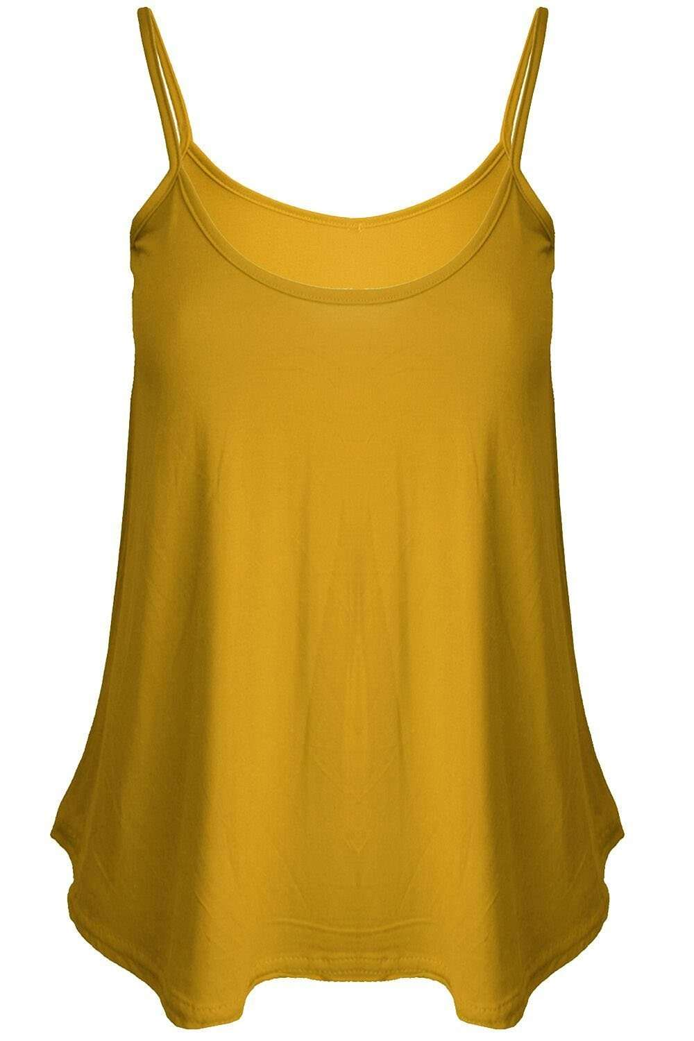 Mustard Strappy Basic Cami Swing Top - bejealous-com