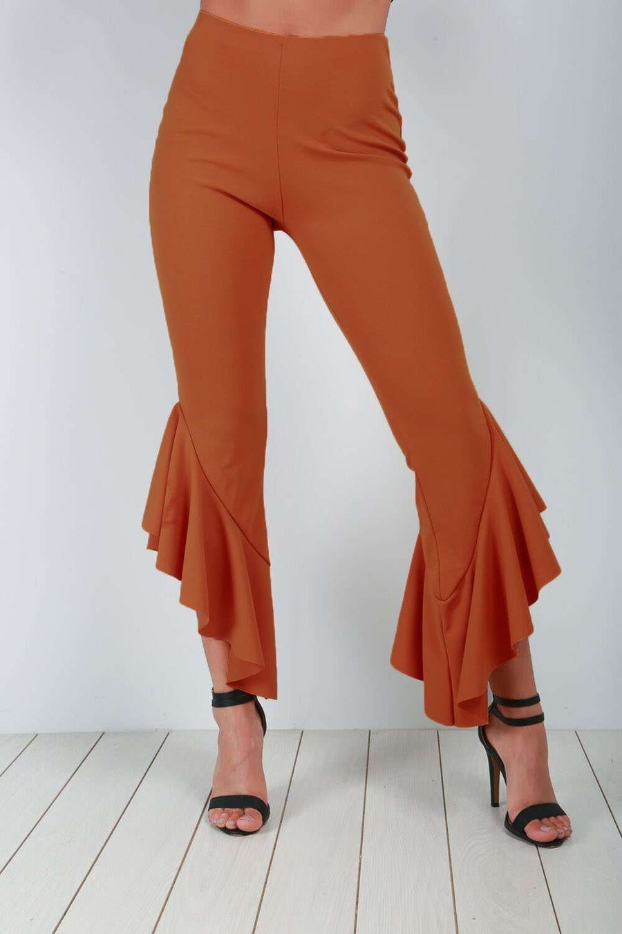 Nadya High Waist Frilly Slim Leg Trousers - bejealous-com