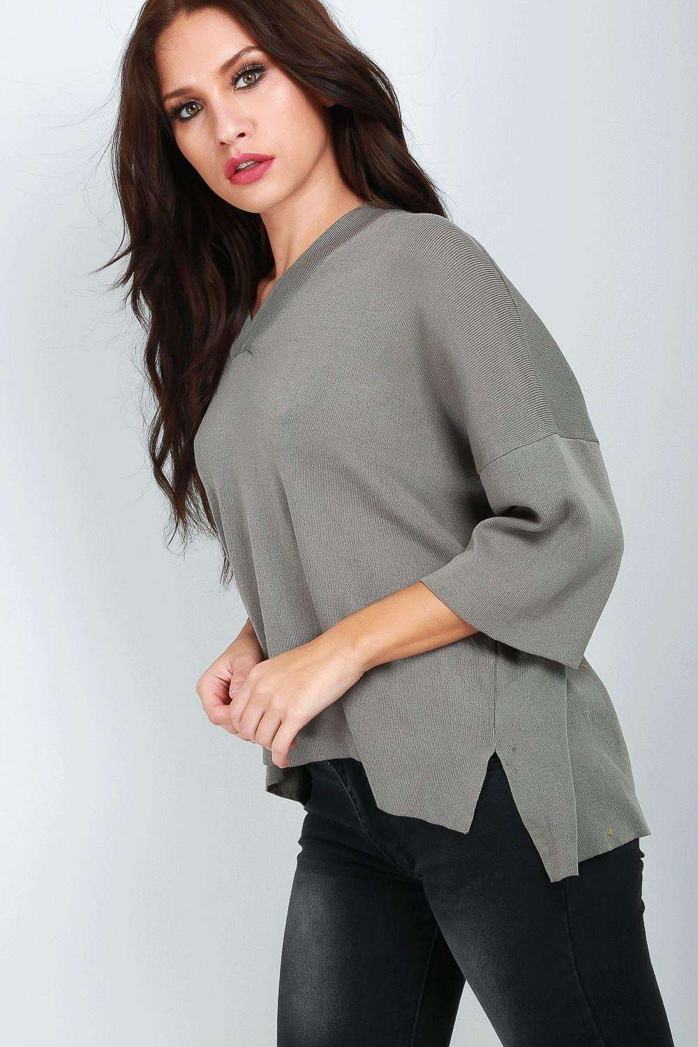 Nancy V Neck Bat Wing Knitted Jumper - bejealous-com