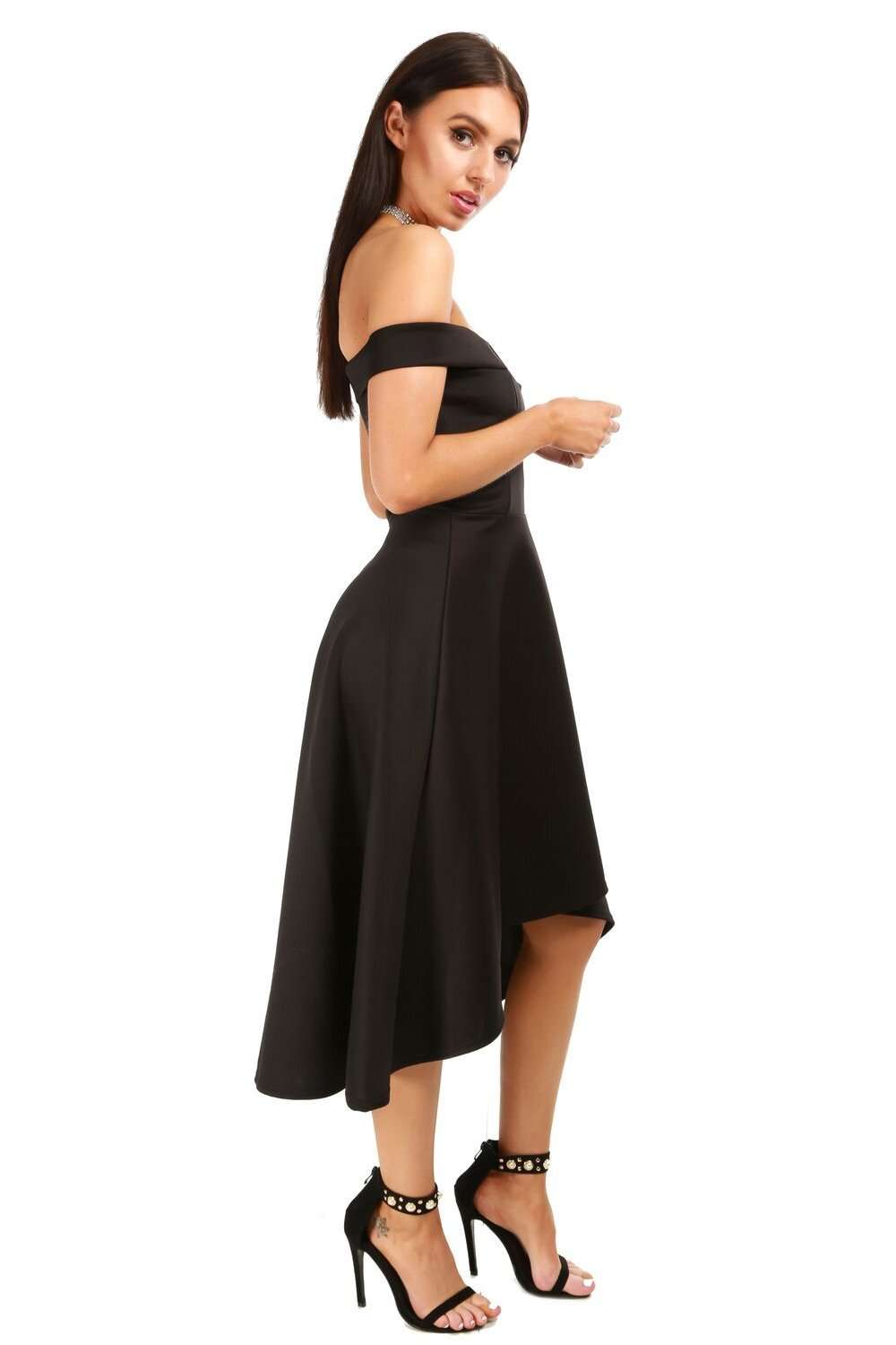 Natalia V Bar Off Shoulder Midi Swing Dress - bejealous-com