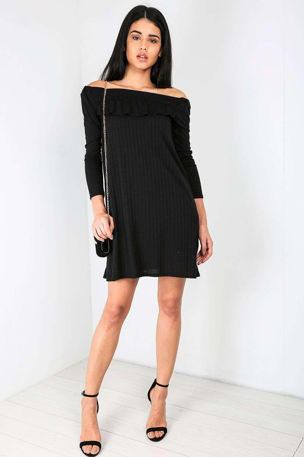 Navy Bardot Long Sleeve Ribbed Mini Swing Dress - bejealous-com