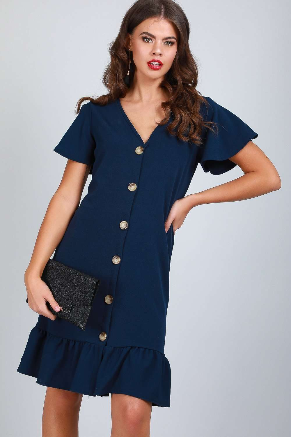 Navy Button Through Frill Sleeve Mini Dress - bejealous-com