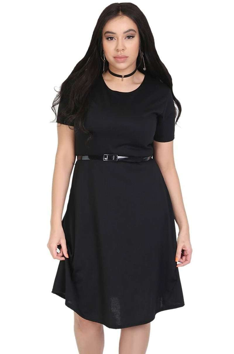 Navy Cap Sleeve Belted Midi Skater Dress - bejealous-com