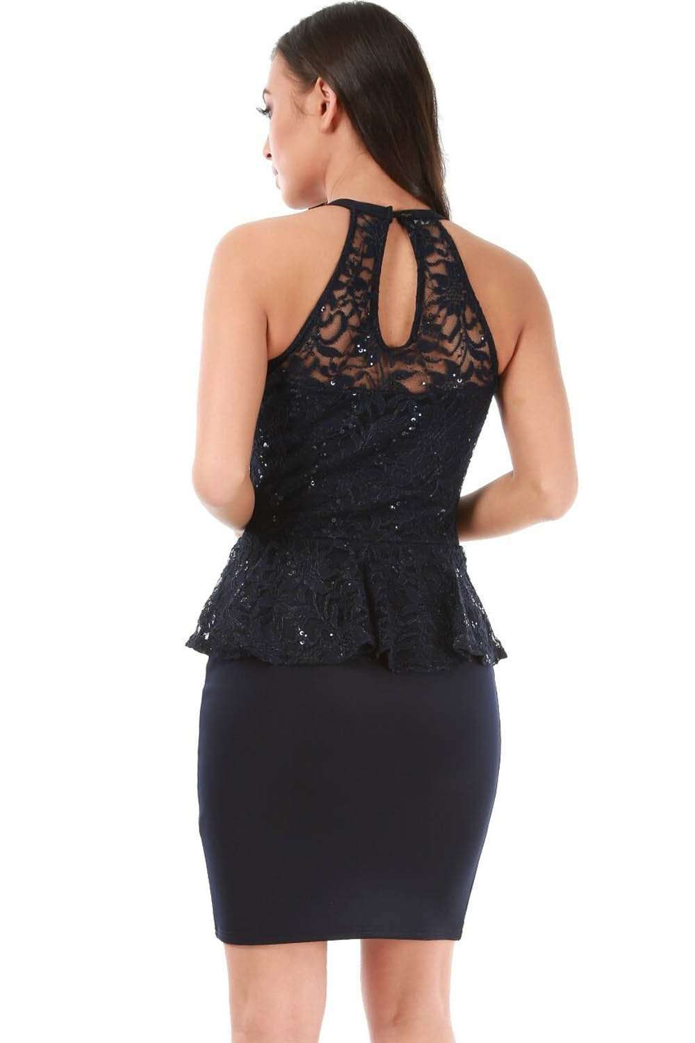 Navy Halterneck Peplum Frill Sequin Bodycon Mini Dress - bejealous-com