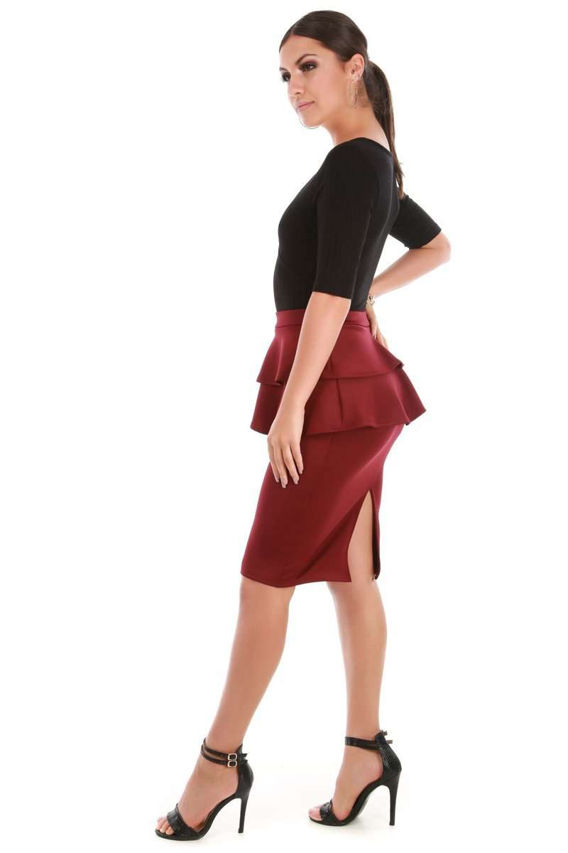 Navy High Waist Peplum Frill Midi Pencil Skirt - bejealous-com