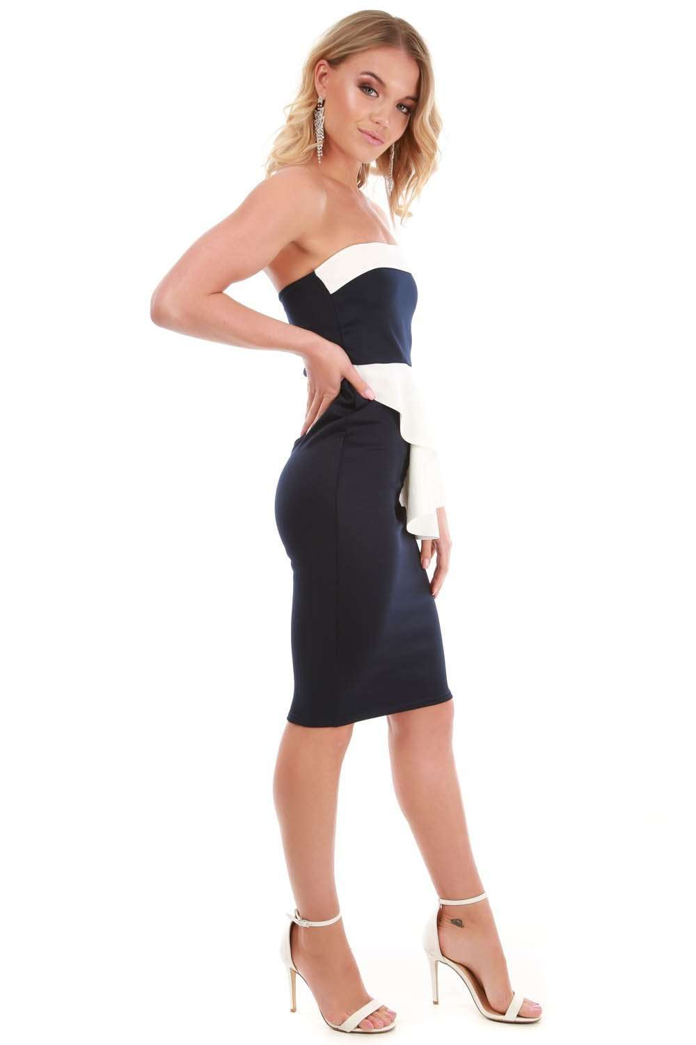 Navy Off Shoulder Peplum Frill Bodycon Midi Dress - bejealous-com