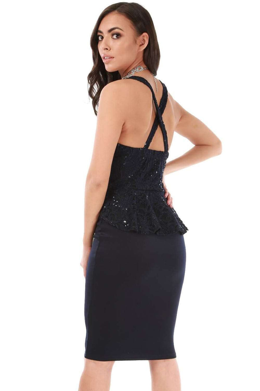 Navy Plunge Neck Peplum Frill Sequin Bodycon Dress - bejealous-com