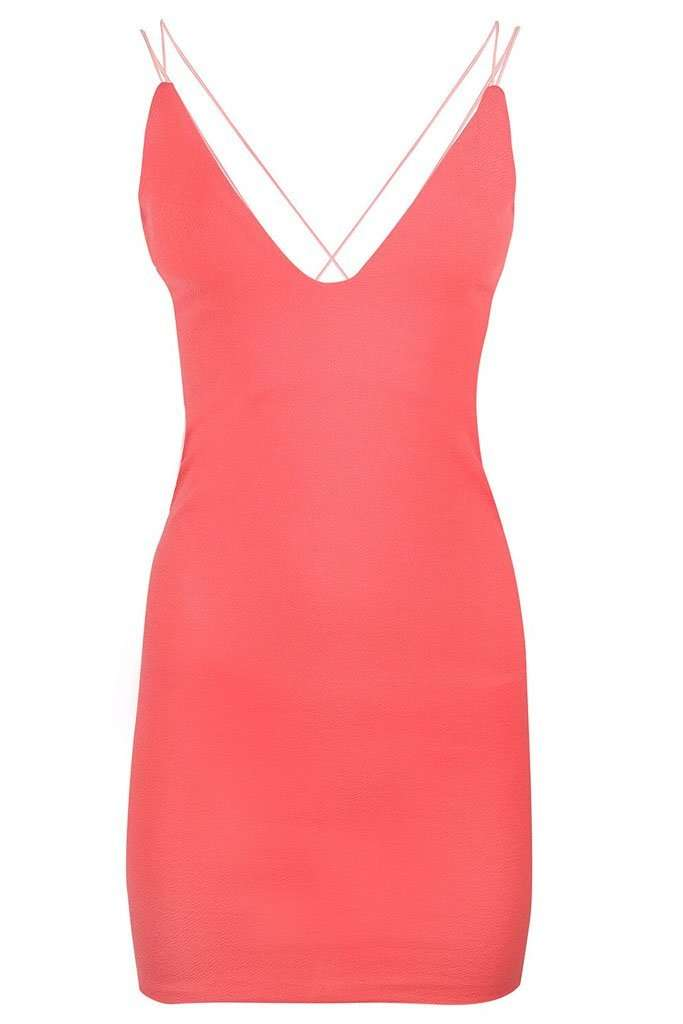 Neon Pink Plunge Neck Strappy Bodycon Dress - bejealous-com