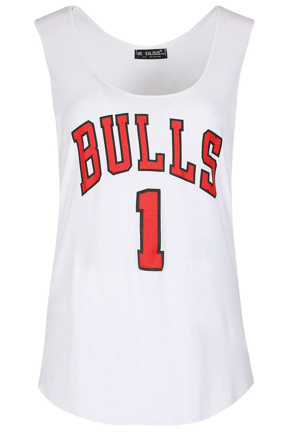 Netty Raw Edge Bulls Slogan Print Vest Top - bejealous-com