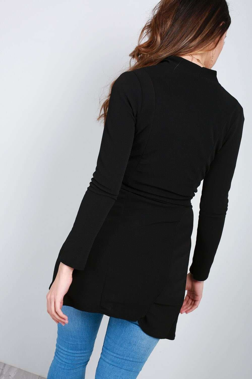 Niamh Black Long Sleeve Open Front Belted Jacket - bejealous-com