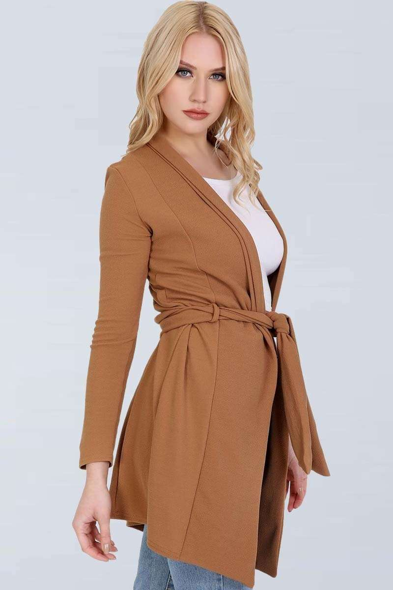 Niamh Long Sleeve Open Front Belted Jacket - bejealous-com