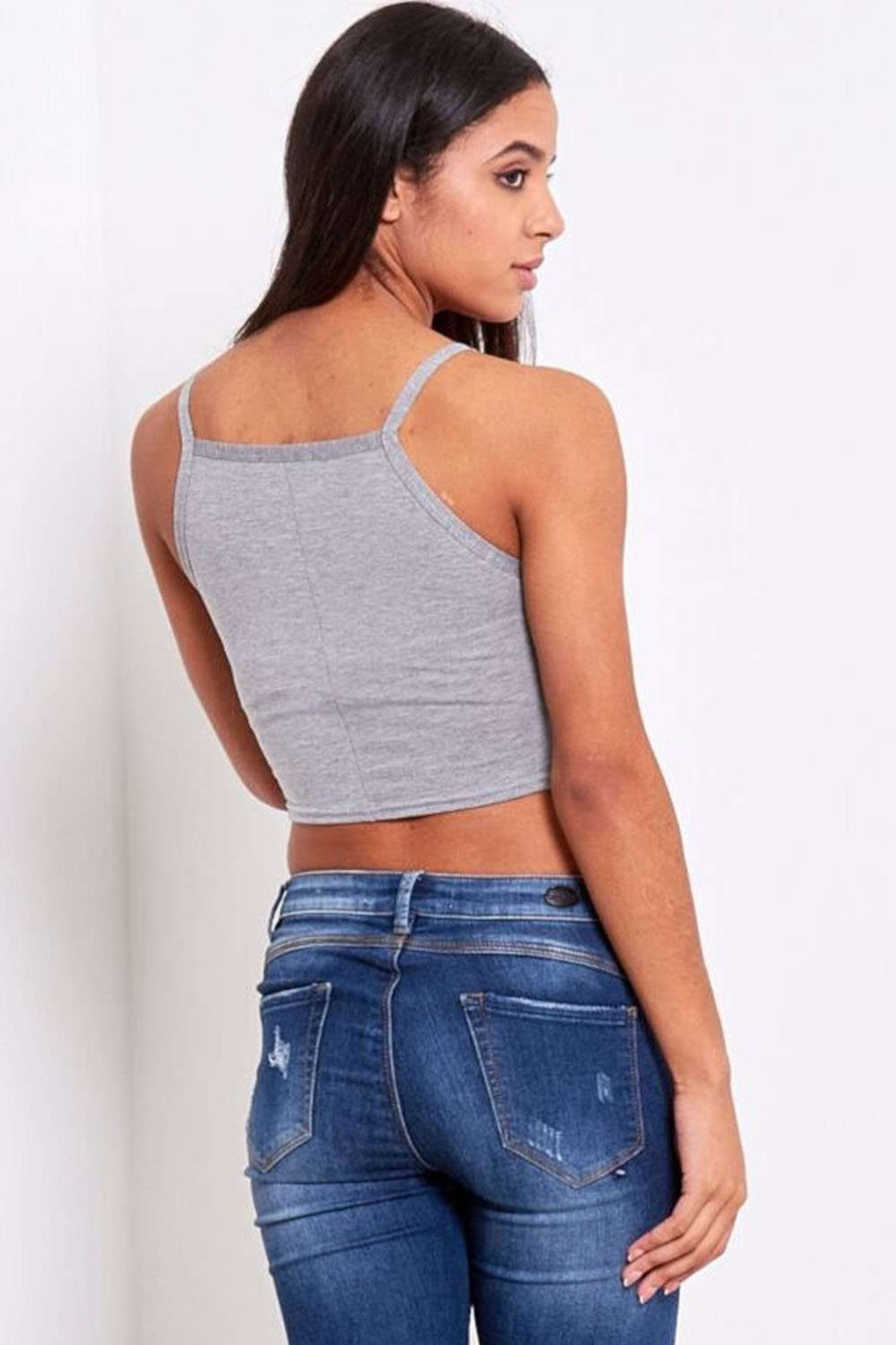 Niamh Strappy Basic Jersey Crop Top - bejealous-com
