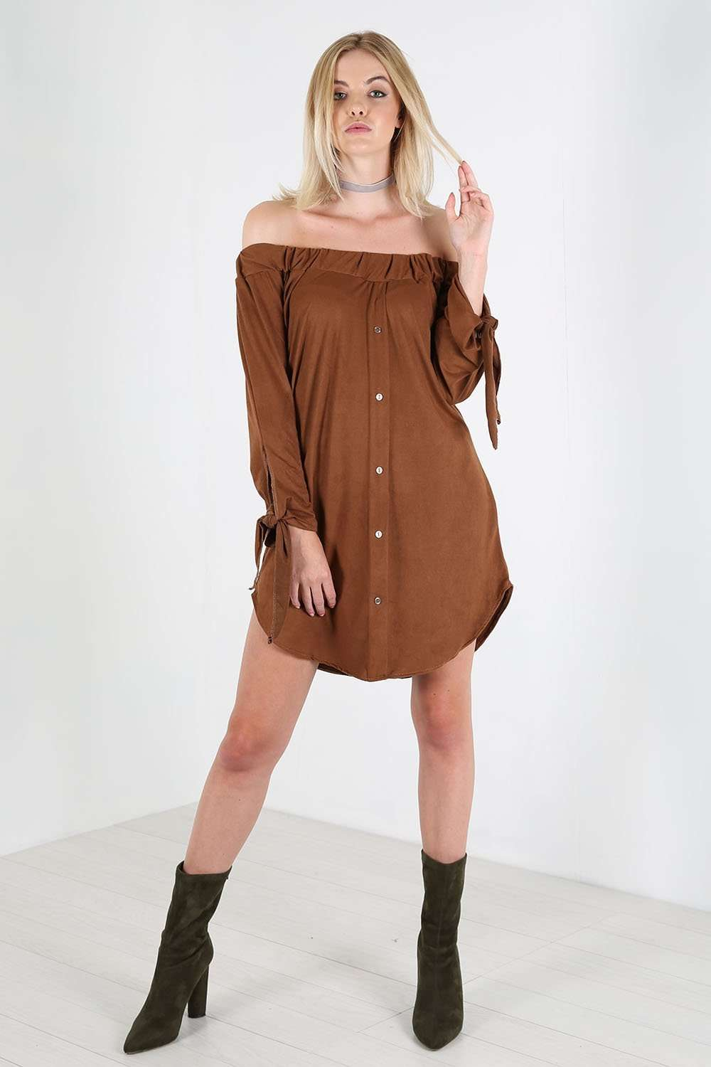 Nikita Off Shoulder Faux Suede Shirt Dress - bejealous-com