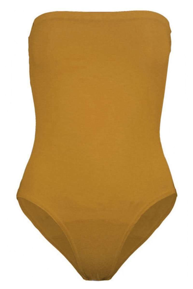 Nina Boob Tube Plain Stretch Bodysuit - bejealous-com