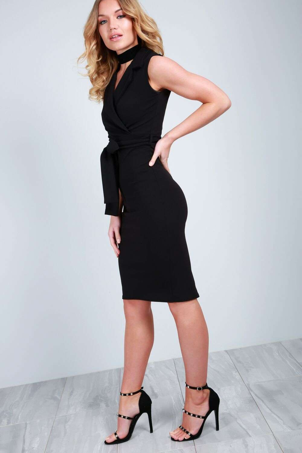 Olivia Tuxedo Wrap Midi Bodycon Dress - bejealous-com