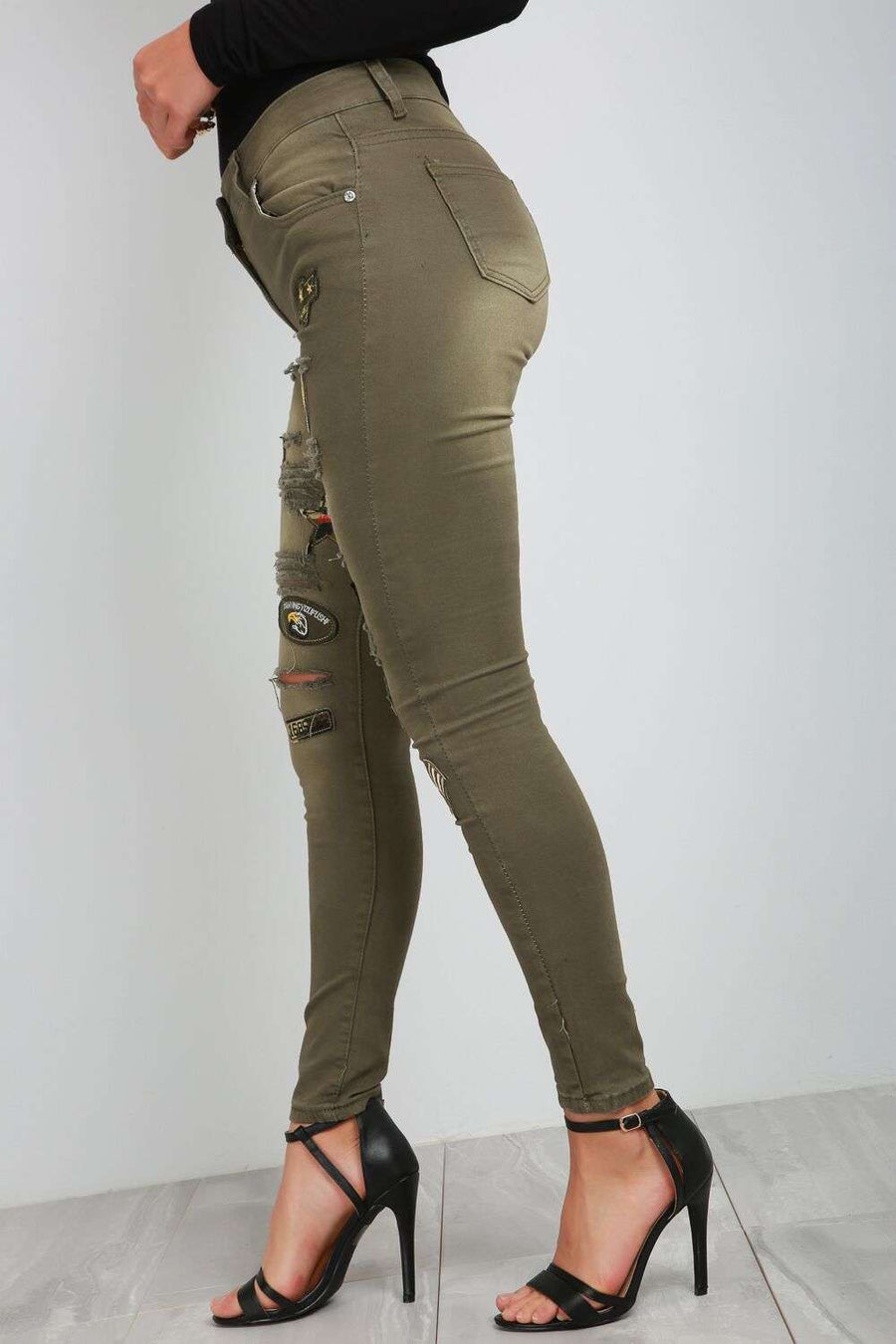 Orla Badge Military Green Skinny Denim Jeans - bejealous-com