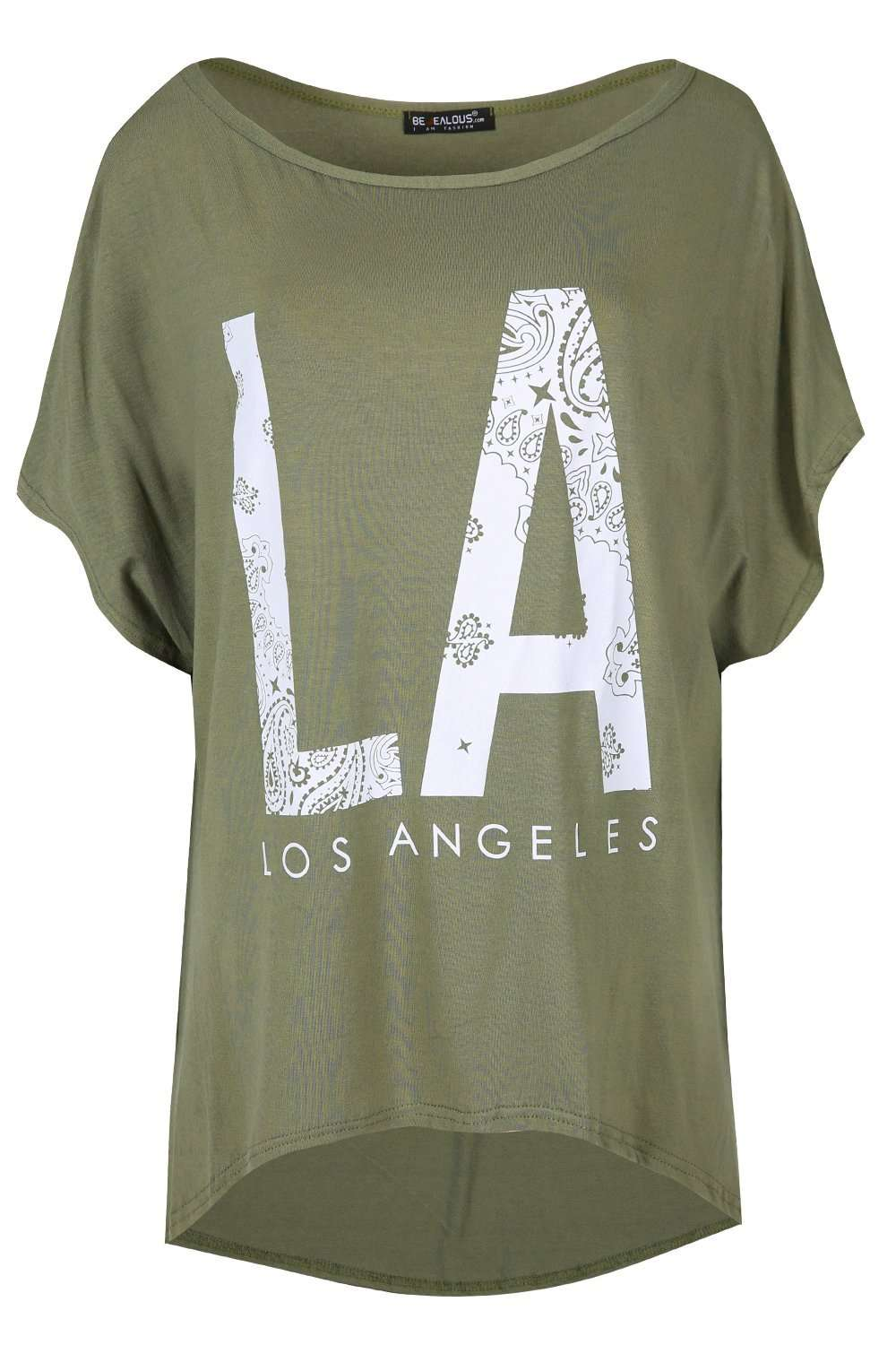 Orla Plus Los Angeles Slogan Print Tshirt - bejealous-com