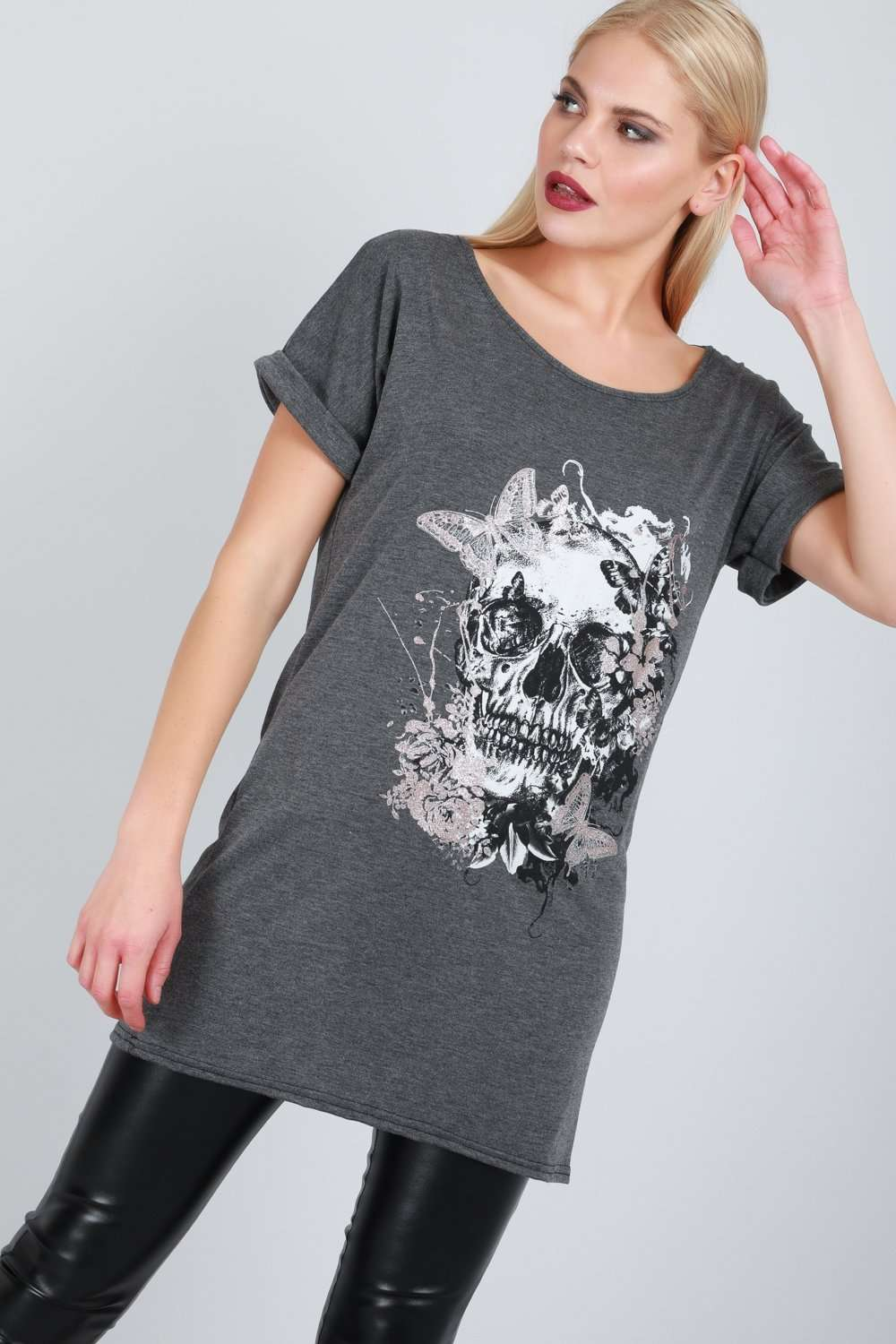 Oversized Floral Skull Print Tshirt Dress - bejealous-com