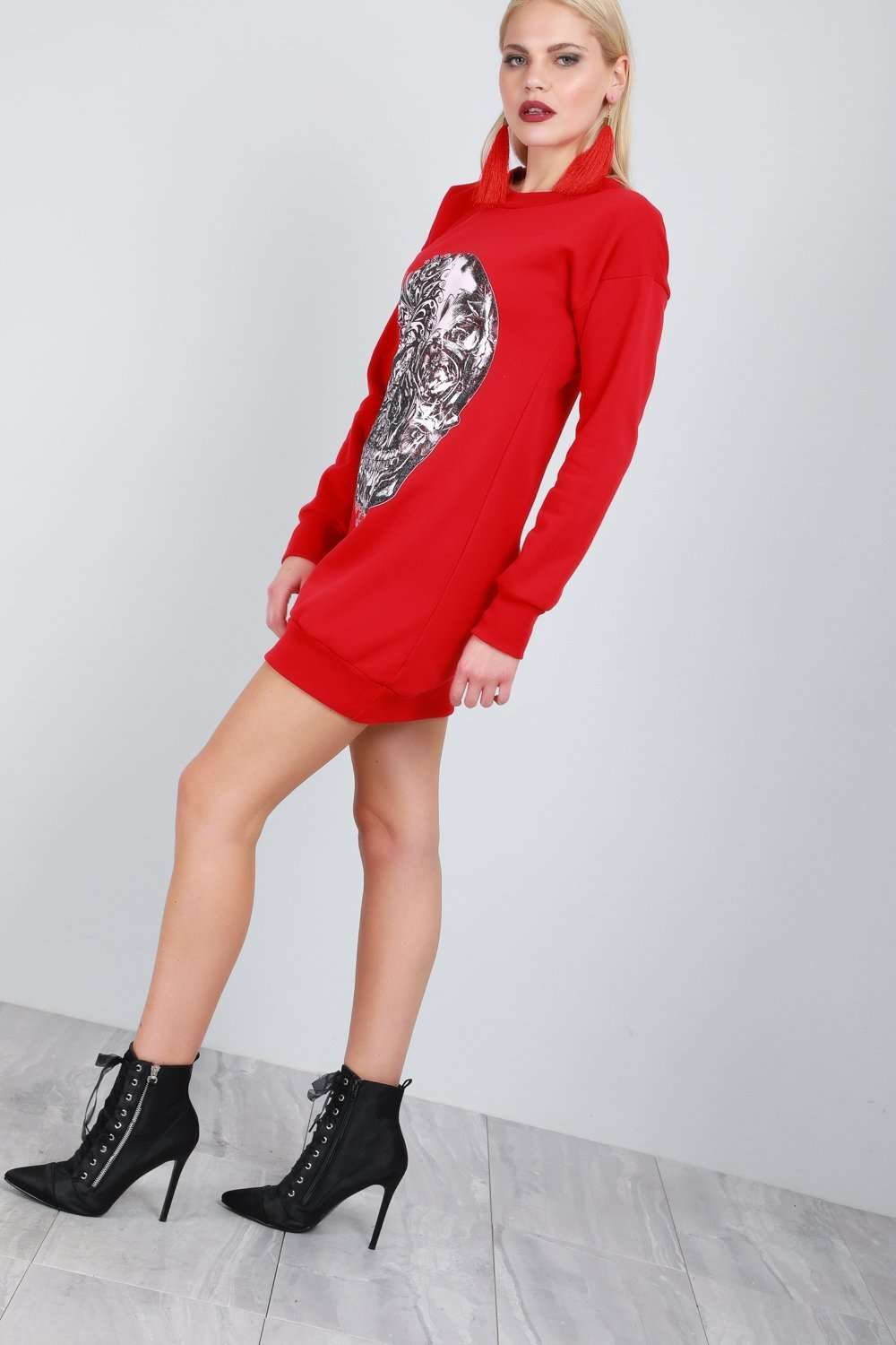 Oversized Skull Print Sweater Dress - bejealous-com