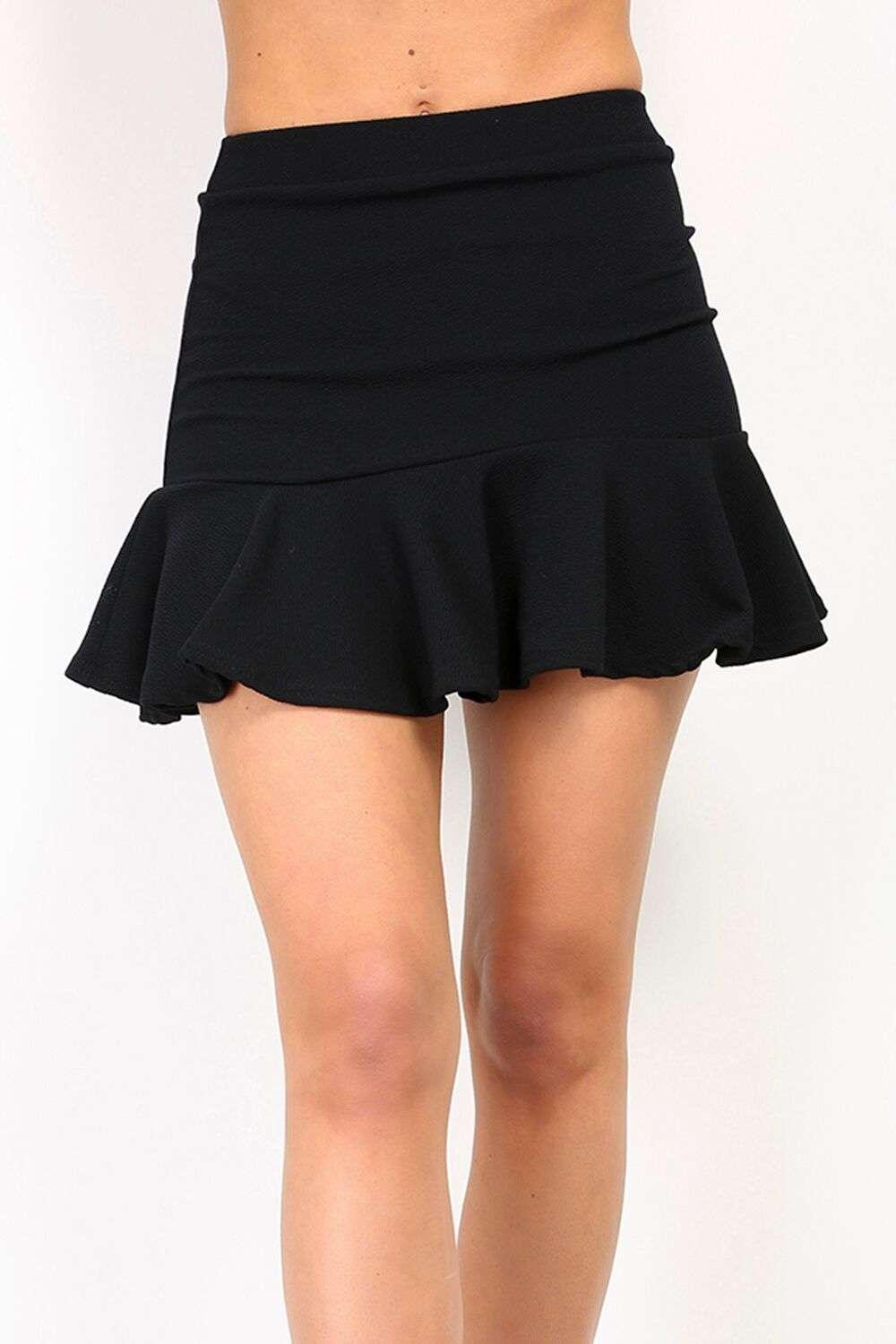 Pamola High Waisted Frill Hem Mini Skirt - bejealous-com