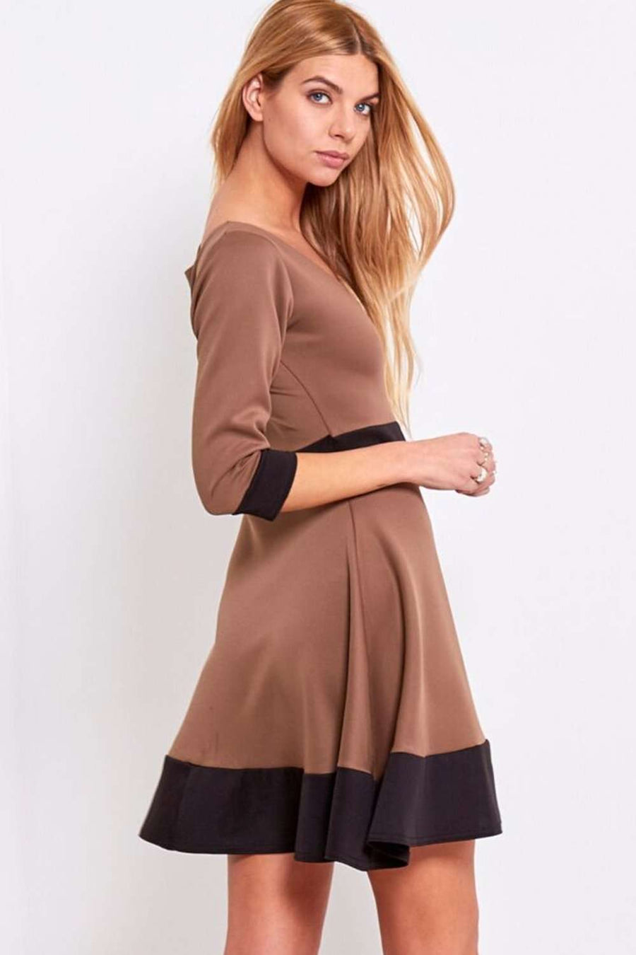Paris Long Sleeve Paneled Mini Skater Dress - bejealous-com