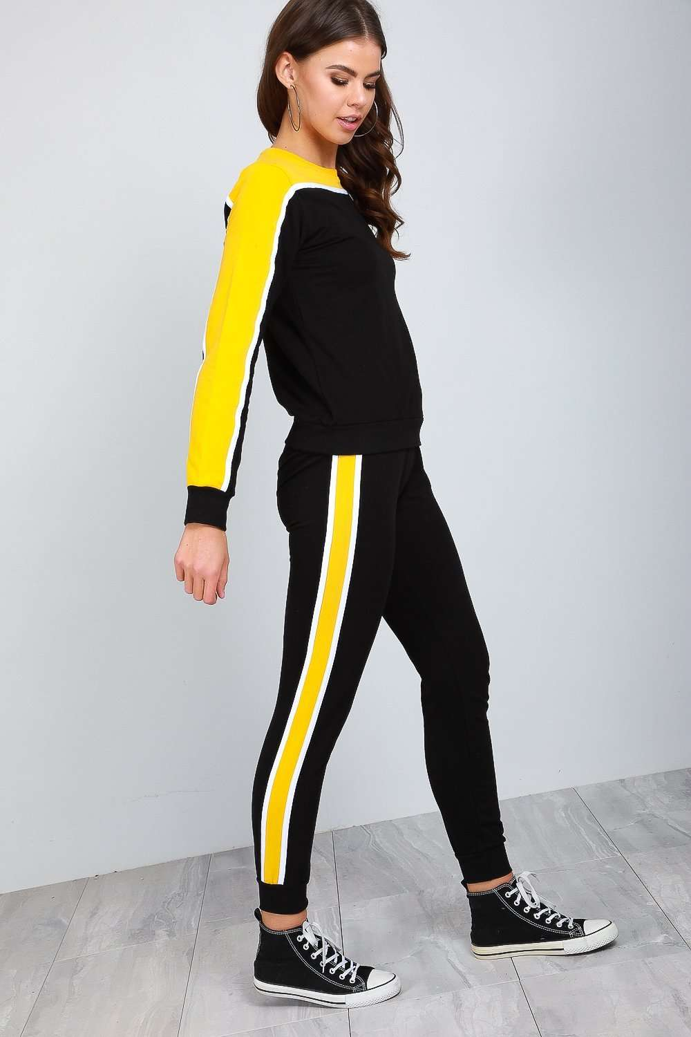 Paris Panel Striped Slim Tracksuit Set - bejealous-com