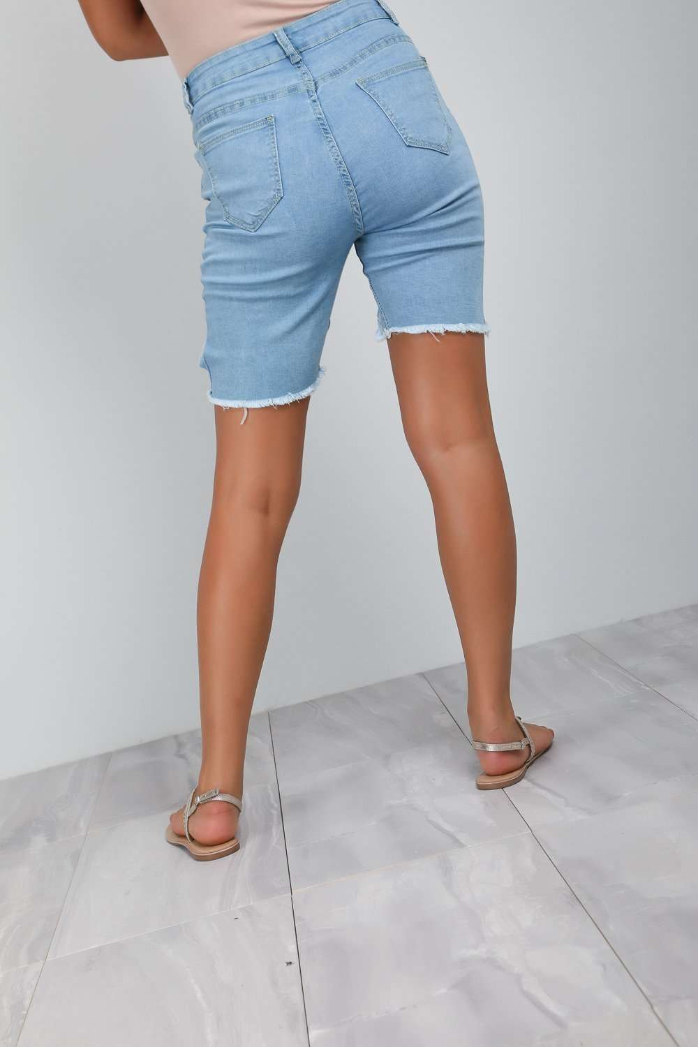 Pia High Waisted Ripped Denim Cycling Shorts - bejealous-com