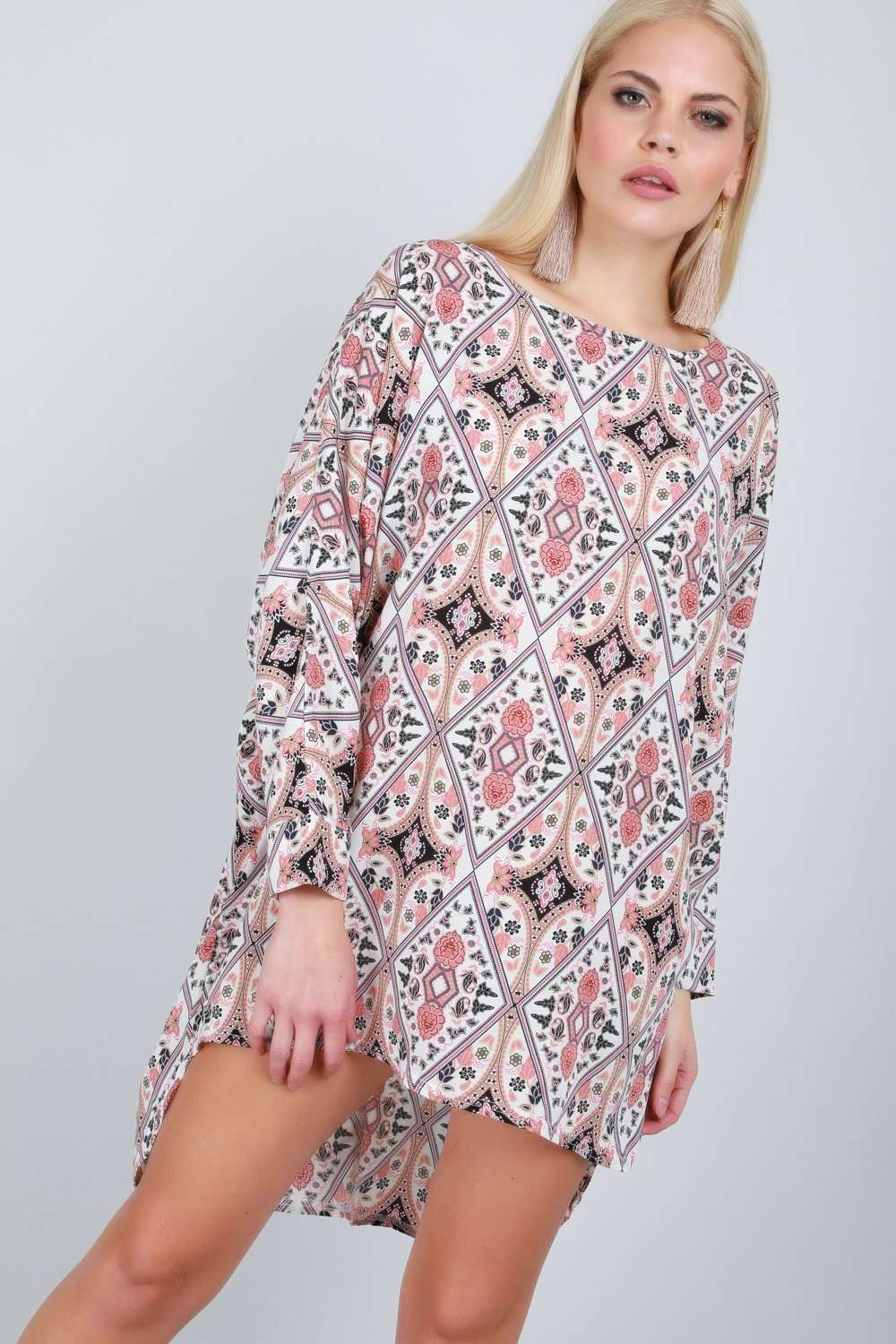 Pink Paisley Dipped Hem Long Sleeve Top - bejealous-com