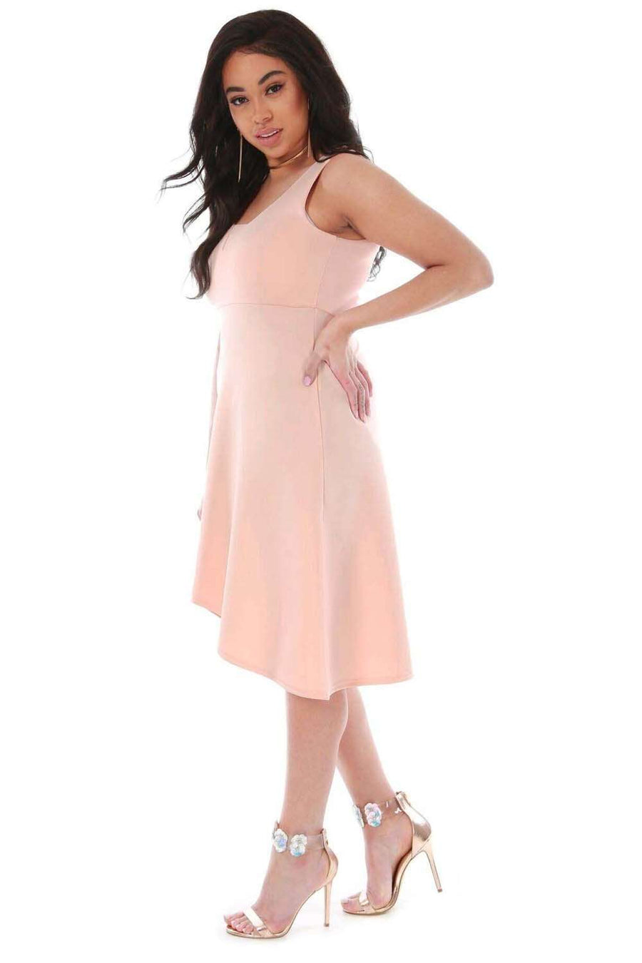 Pink Plus Size VNeck Dipped Hem Midi Swing Dress - bejealous-com