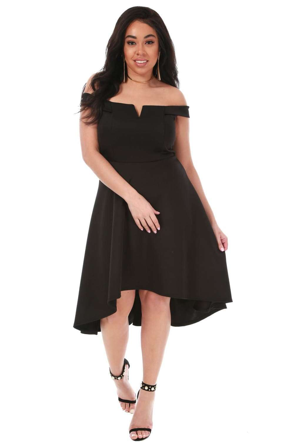 Plus Size Black Off Shoulder Dipped Hem Midi Swing Dress - bejealous-com
