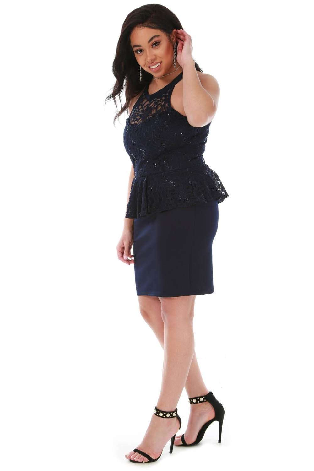 Plus Size Navy Peplum Frill Sequin Lace Mini Dress - bejealous-com