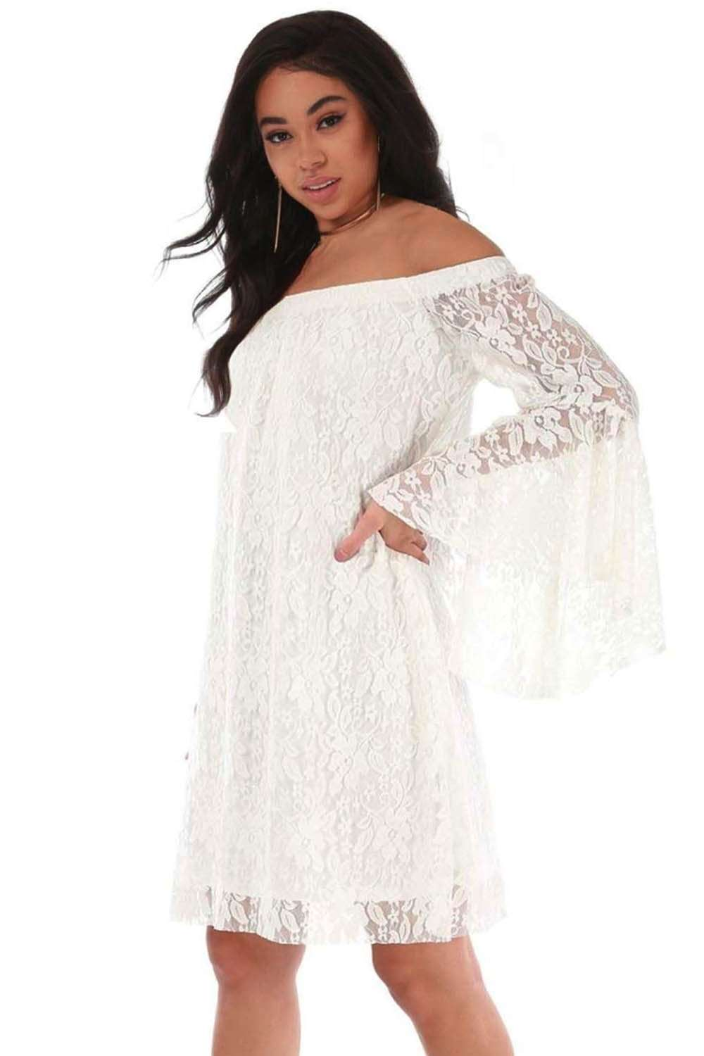 Plus Size Off Shoulder Flare Sleeve Lace Mini Dress - bejealous-com