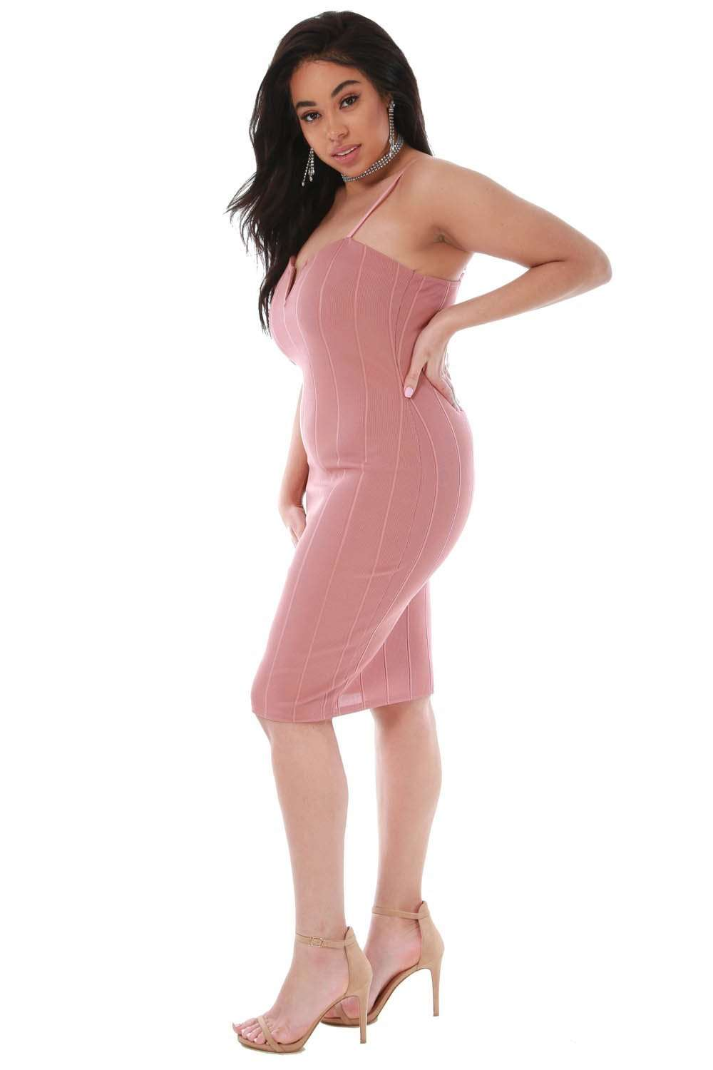 Plus Size Plunge Neck Bandage Bodycon Midi Dress - bejealous-com