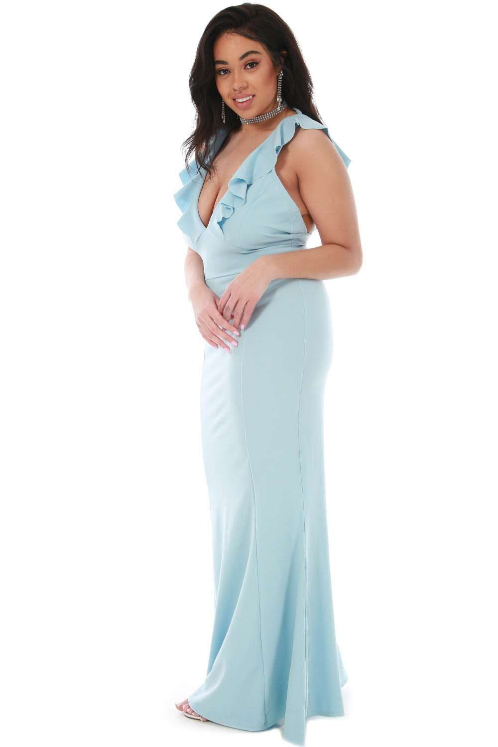 Plus Size Plunge Neck Frilly Fishtail Maxi Dress - bejealous-com
