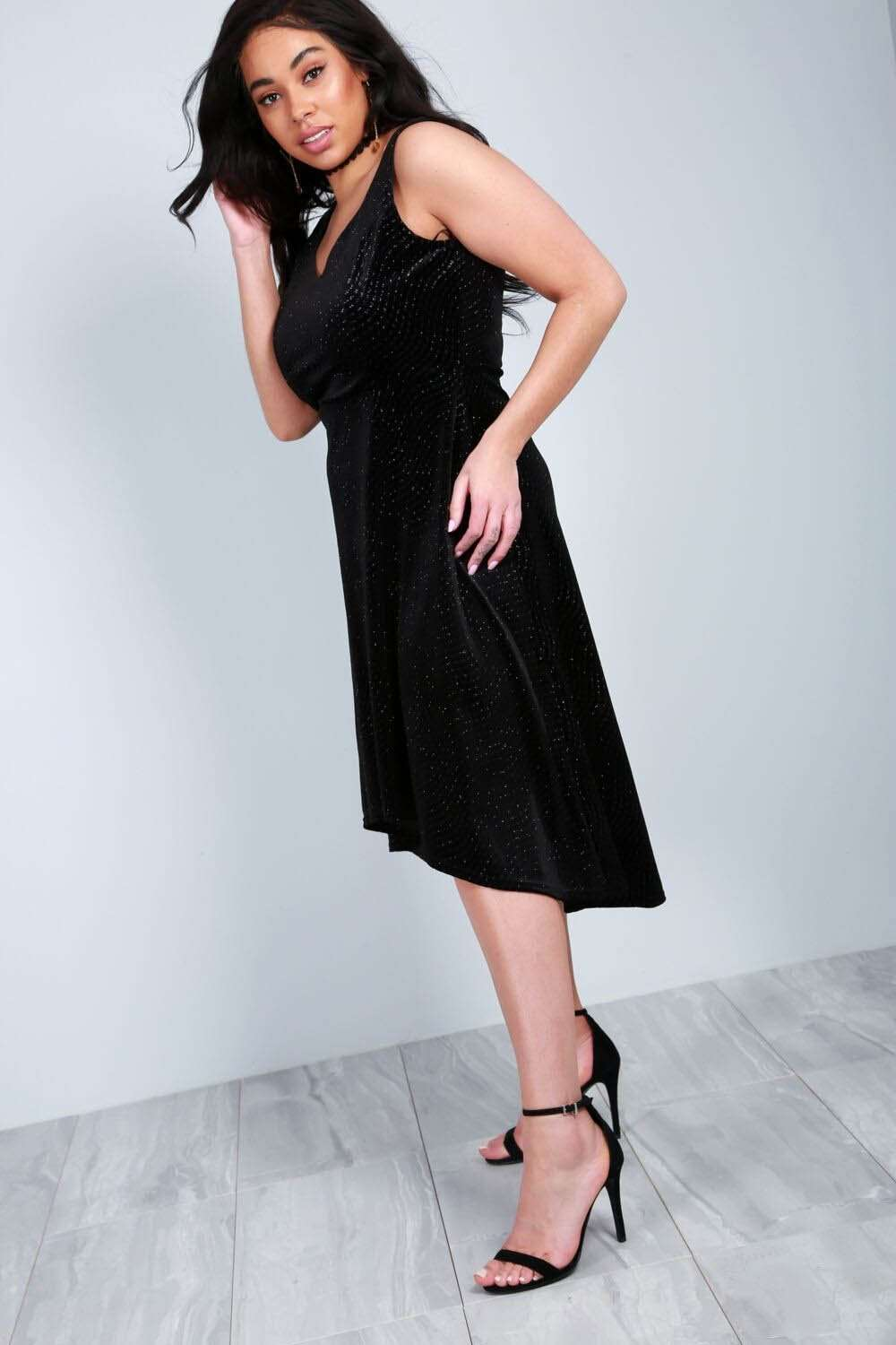 Plus Size V Neck Dipped Hem Velour Midi Dress - bejealous-com