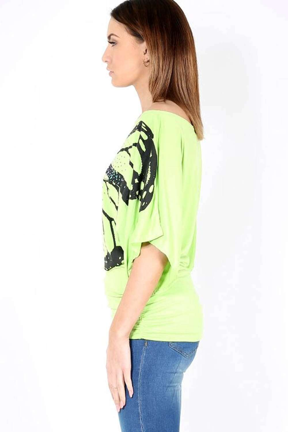 Polly Butterfly Print Bat Wing Baggy Tshirt - bejealous-com