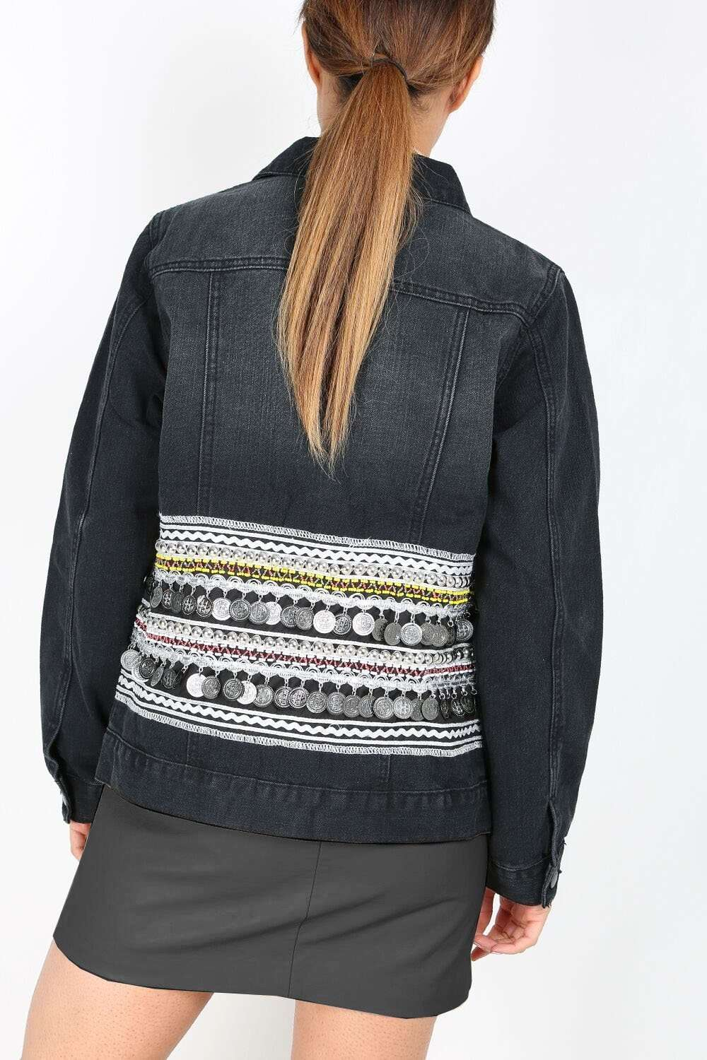 Portia Aztec Coin Trim Oversized Denim Jacket - bejealous-com