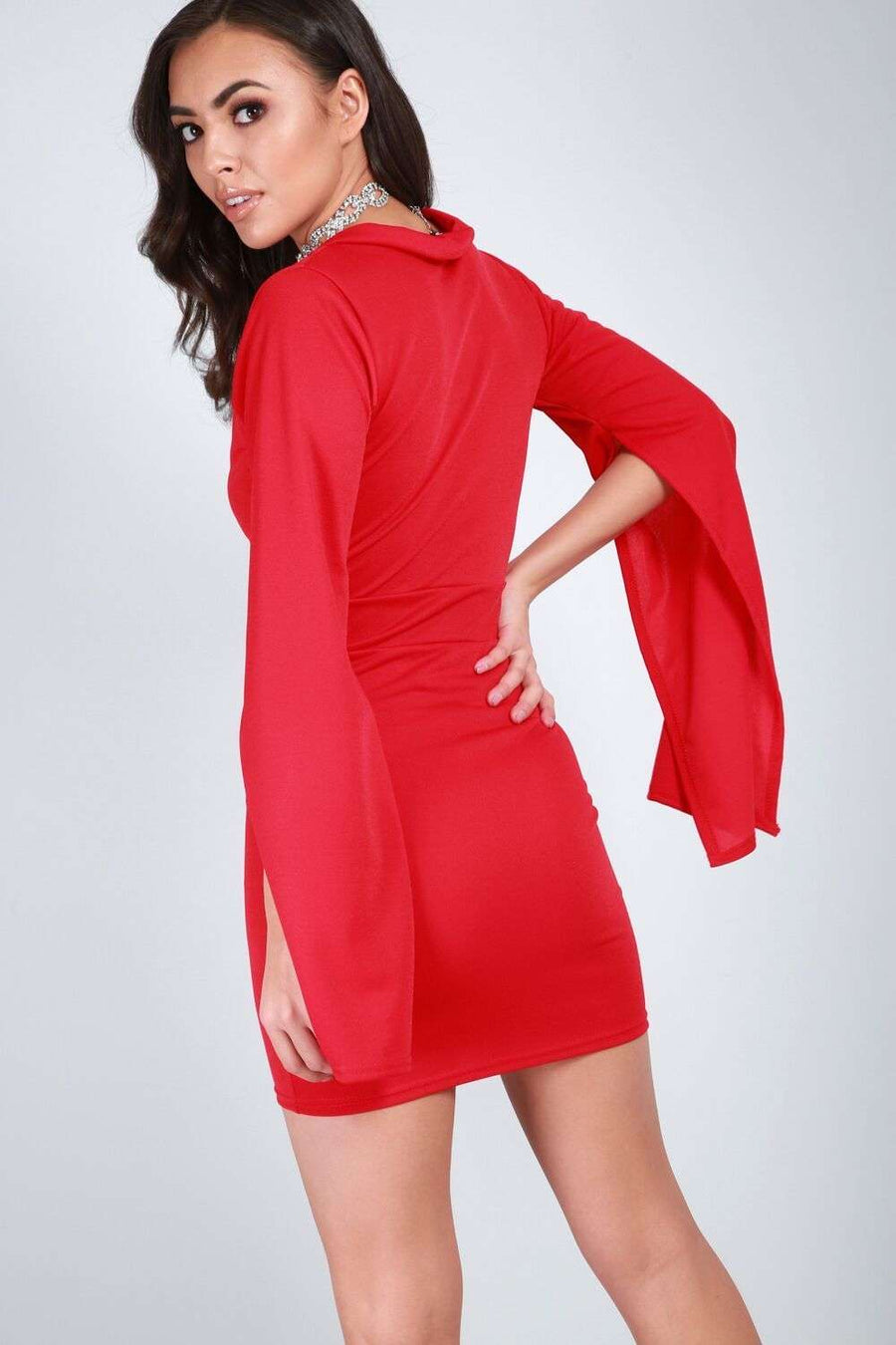 Priah Cape Sleeve Plunge Neck Mini Dress - bejealous-com