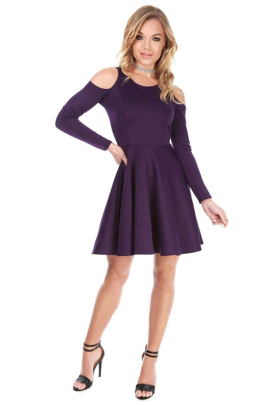 Purple Cold Shoulder Long Sleeve Skater Dress - bejealous-com