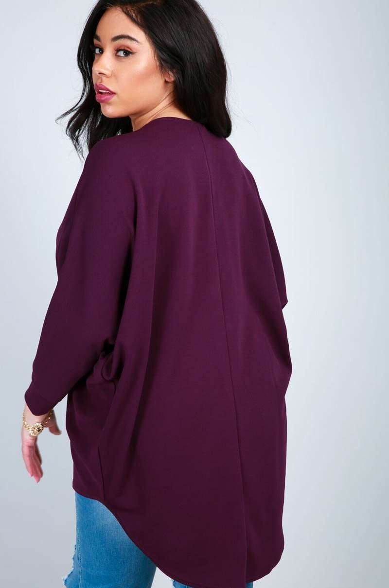 Purple Plus Size Plunge Zip Neck Bat Wing Top - bejealous-com