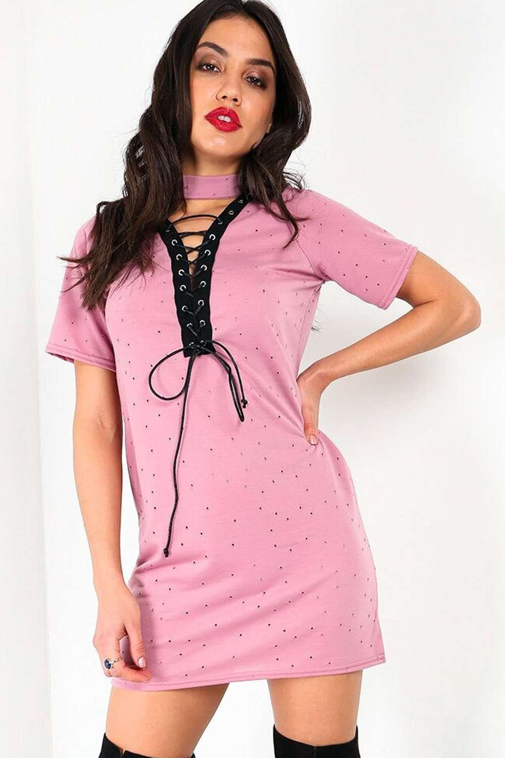 Raine Choker Neck Lace Up TShirt Dress - bejealous-com
