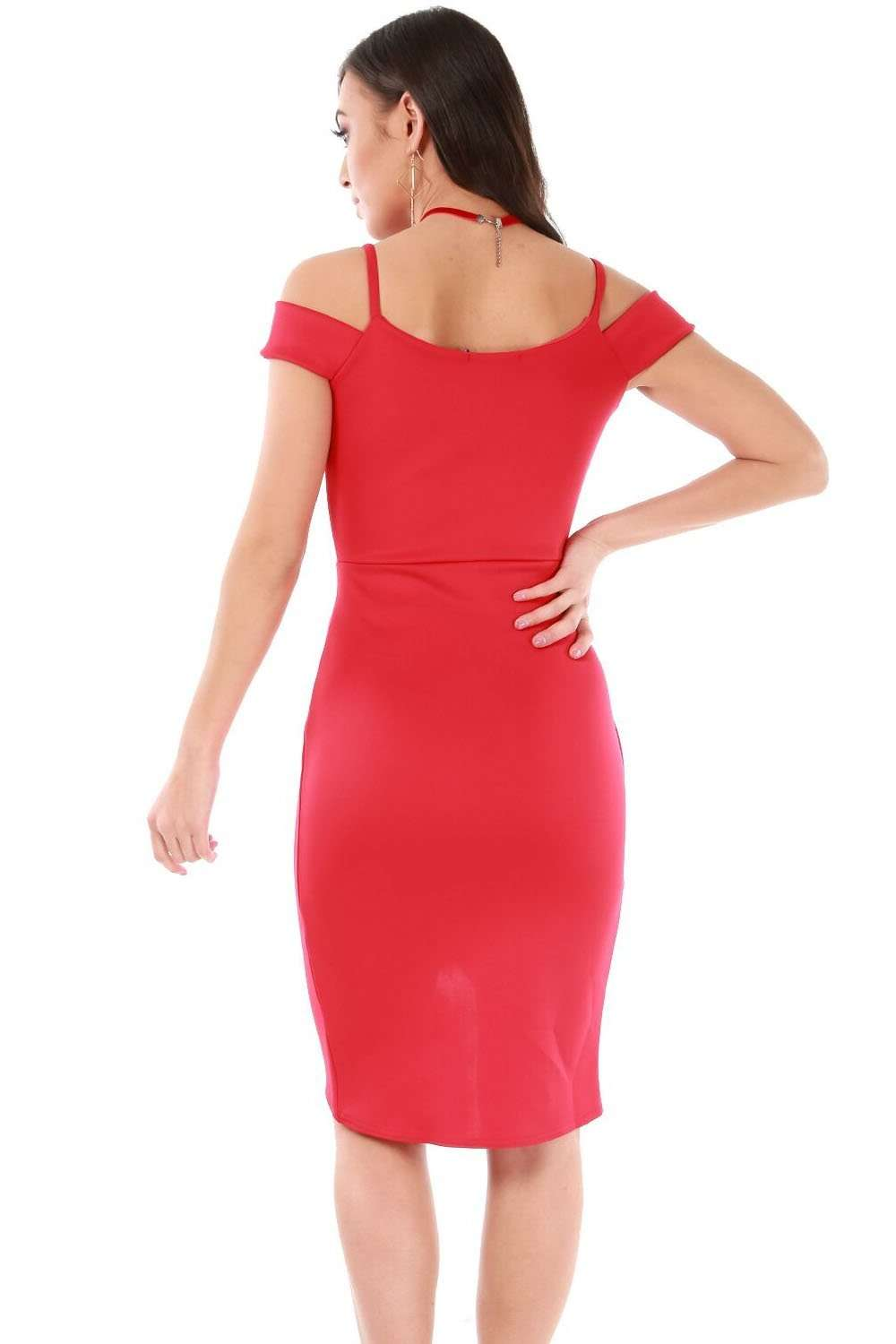 Red Bardot Strappy Wrap Bodycon Mini Dress - bejealous-com